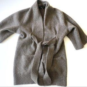 Vince Brown Wool Tie Waist Cardigan Sweater XS
